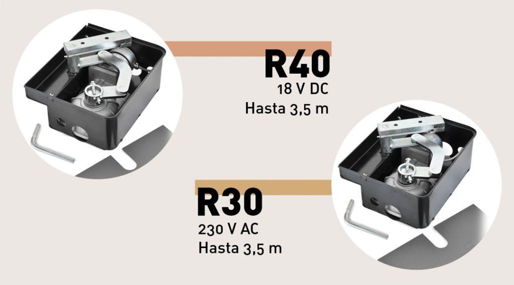 R40, 18 VDC hasta 3,5 m. // R30 230 V AC hasta 3,5 m